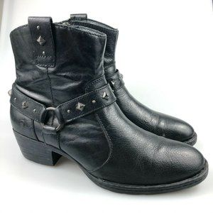 Born Womens Black Leather D14603 Ankle Boots Sz 11